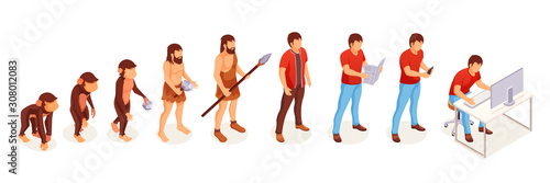 Human evolution of monkey to modern man at computer, vector icons Canvas Print