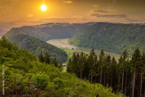 Fotografie, Obraz  Danube river winding in the austrian plains. Beautiful sunset.