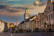 Masaryk square in the old town of Trebon, Czech Republic.