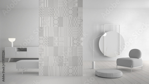 Fotografie, Obraz Total white project draft, modern minimalist abstract living room with decorated