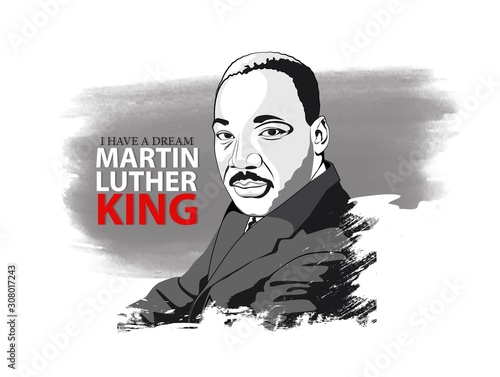 Martin Luther King. Black and white hand drawn vector portrait