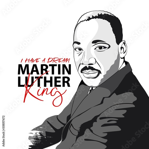 Martin Luther King. Black and white hand drawn vector portrait Canvas Print