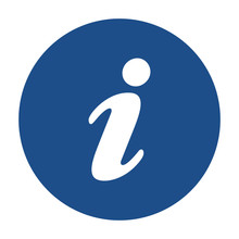 Blue Round Information Icon, Button On A White Background