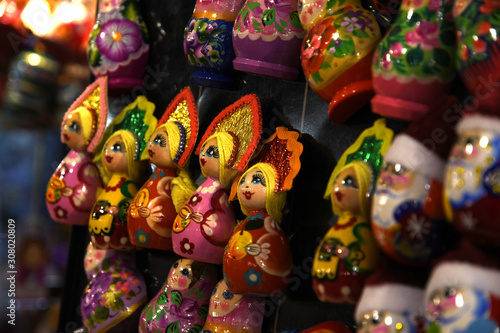 Florence, December 2019: Handmade Christmas decorations at Christmas market in Piazza Santa Croce in the centre of Florence City Canvas Print