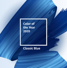 Color Of The Year 2020 Vector Social Blog Post Template. Classic Blue Color Trend Brush Paint Poster. Blue Realistic 3d Render Brush Strokes. Abstract Illustration.
