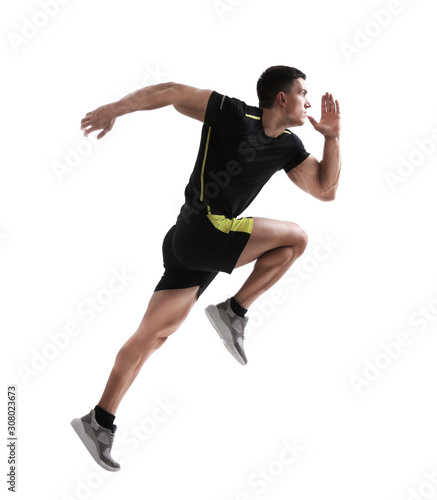 obraz PCV Athletic young man running on white background, side view