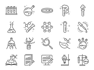 Chemistry lab icon set. Included icons as Chemical, formula, Medical analysis, Laboratory test flask, experiment and more.