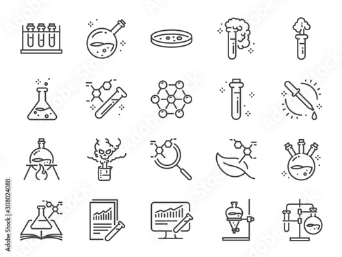 Obraz Chemistry lab icon set. Included icons as Chemical, formula, Medical analysis, Laboratory test flask, experiment and more. - fototapety do salonu
