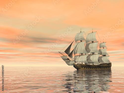 Fotografija Old merchant ship on the ocean - 3D render