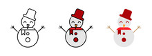 Snowman Icon Set  Isolated On ...