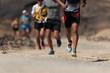 Leinwanddruck Bild - Runners running shoes on trail run. Ultra running athletes legs close up on running in rock path trail