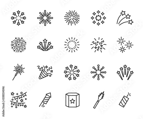 Vector set of firework line icons Fototapet