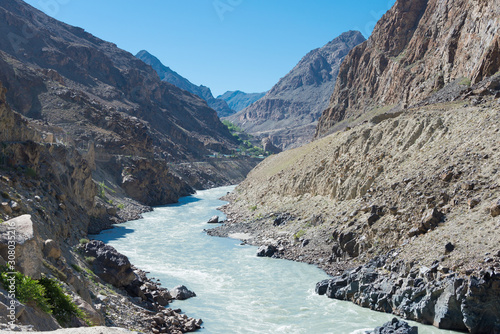 Ladakh, India - Jun 29 2019 - Indus river at Aryan Valley in Ladakh, Jammu and Kashmir, India Canvas Print