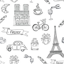 Set Of Travel Icons. France, Paris , Eiffel Tower, Wine Vector Seamless Pattern On White Background . Concept For Print, Textile, Cards