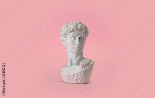 Statue bust on pink background Fototapeta