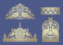 Peacock Motif Designs, Textile...