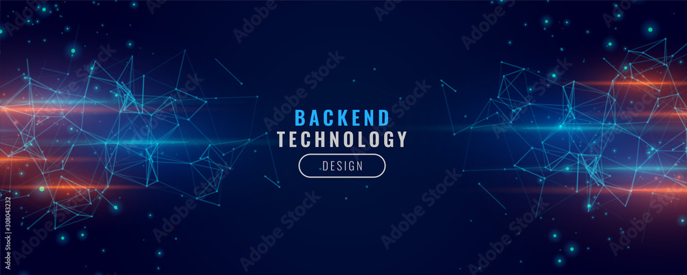 Fototapeta digital backend technology concept particle background design