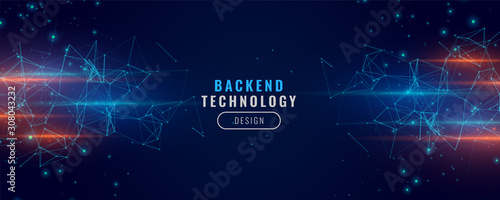Fototapeta digital backend technology concept particle background design obraz