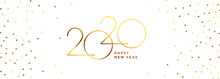 White And Gold Happy New Year 2020 Banner Design