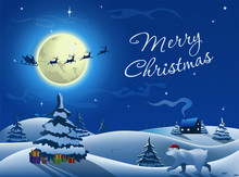 Merry Christmas Greeting Card. Santa Claus In A Sleigh With Reindeers Flies On The Background Of The Moon And Stars. White Bear In A Christmas Hat Walks Towards The Christmas Tree To Open The Gifts