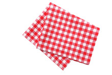 Red Picnic Cloth Isolated,checkered Towel.