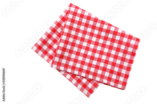 Red picnic cloth isolated,checkered towel. Fototapeta
