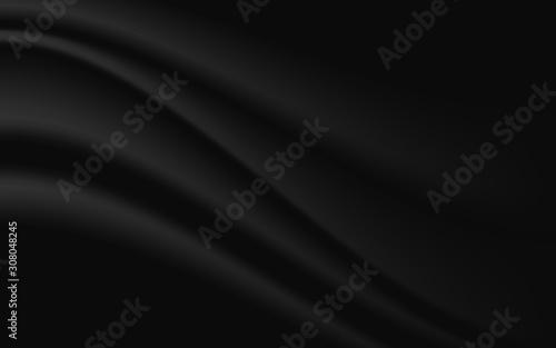 Fototapeta Black background with fabric wave line design. Vector illustration. eps 10 obraz na płótnie
