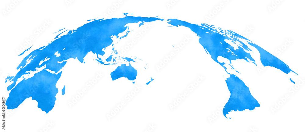 Fototapeta 水彩風、世界地図、青