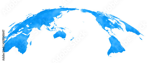 水彩風、世界地図、青 Fototapet