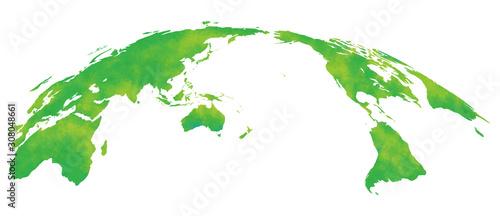 Fototapeta 水彩風、世界地図、緑