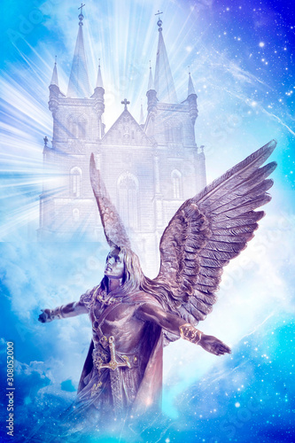 Photo angel archangel Michael with divine gate over angelic background