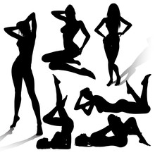 Vector Silhouettes Of Sexy Girls In Various Poses