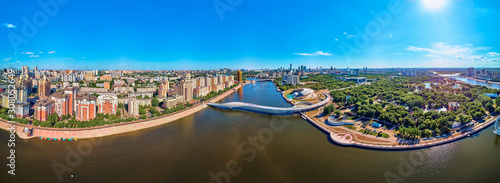 Photo NUR-SULTAN, KAZAKHSTAN - July 30, 2019: Beautiful panoramic aerial drone view to