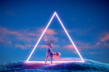 Christmas Deer In A Neon Glowing Purple Portal On An Evening Blue Sky Background