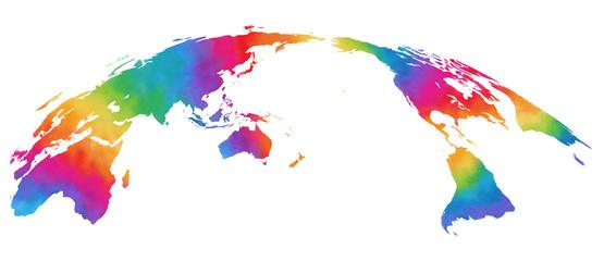 水彩風、世界地図、カラフル