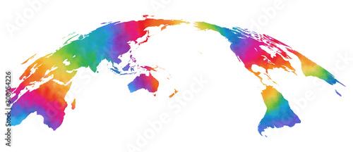 Foto 水彩風、世界地図、カラフル
