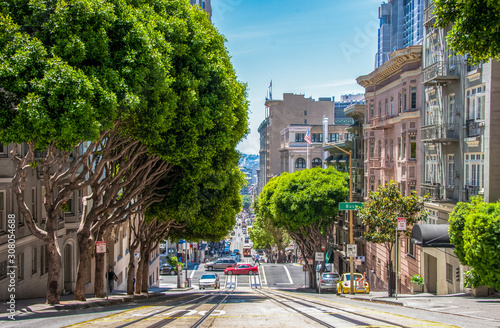 Photo Tramway in San Francisco street California United States