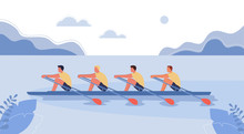Four Athletes Swim On A Boat. ...