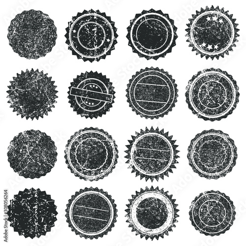 Obraz Black Ink color empty Stamps Round frames vector icon set. Stamp grunge textured ink rubber labels. Isolated on white background.  Scratched stamp logo shape symbol.  - fototapety do salonu