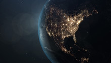 World And Sun Realistic 3D Rendering. Shiny Sunlight Over Planet Earth, Cosmos, Atmosphere, America, Usa . Shot From Space Satellite