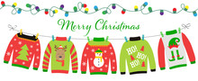 Ugly Sweater Party Invitation With Hanging Funny Jumpers And Pullovers. Christmas Holiday Decoration. Layout Template