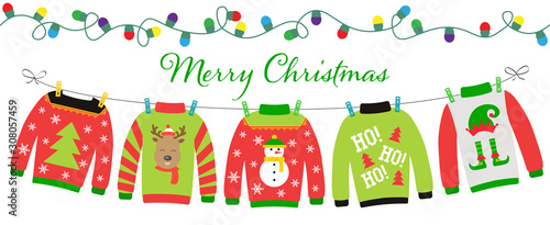 Платно Ugly sweater party invitation with hanging funny jumpers and pullovers
