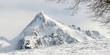 canvas print picture - Blick zu einem schneebedeckten Berg im Zillertal in Tirol als Panorama- und Hintergrundbild