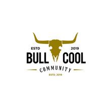 Skeleton Bull Head, Bull Skull Badge Emblem Label Logo Design Template. Vector Illustration Of Bull, Cow, Buffalo, Bison Skull