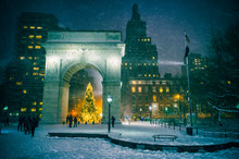 Arch, Architecture, Blizzard, Christmas, Christmas Eve, Christmas Tree, City, Cold Weather, Copy Space, Dark, Downtown, Empty, Evening, Greenwich Village, Holiday, Holidays, Horizontal, Illuminated, L