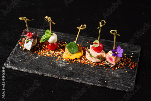 Canvas Print canape set on the black background