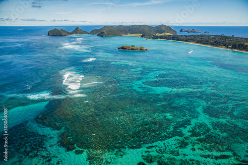 Photo Stands Roe Aerial view of Lord Howe Island Coasts, turquoise blue Coral ree