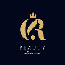 Initial C R Luxury Beauty Queen Woman Face With Crown Logo Design Vector Inspiration. Consisting Of A Entwined C And R With Lady Face On Negative Space With Crown.