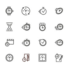 Watches And Clock Line Icon Se...