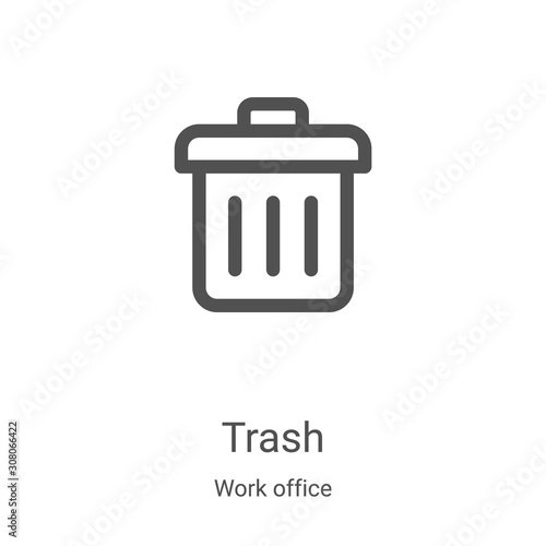 Fototapety, obrazy: trash icon vector from work office collection. Thin line trash outline icon vector illustration. Linear symbol for use on web and mobile apps, logo, print media
